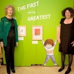 "Francesca Simon at the ""Up to Mischief"" exhibition with her editor, Judith Elliott at Seven Stories"
