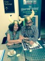 Francesca with Adam Stower, the illustrator of the Norse Gods series at the Hay Festival
