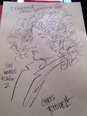 Waterstones Children's Laureate Chris Riddell sketches Francesca's hair!
