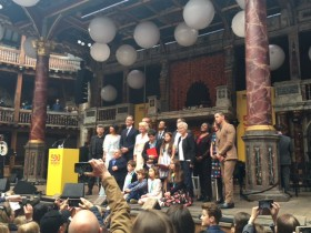 Francesca attends the BBC's 500 Word Competition Ceremony at The Globe Theatre