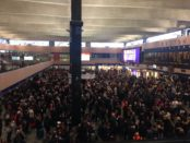 The crowds at Euston with no trains coming in or going out