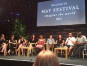 Francesca on stage at Hay with fellow YA Book Prize shortlisted authors